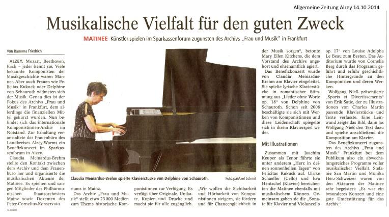 Allgemeine Zeitung Alzey: Musikalische Vielfalt für den guten Zweck