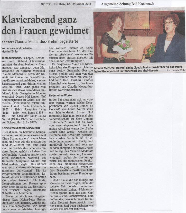 Klavierabend im Kurhaus Menschel, Bad Kreuznach