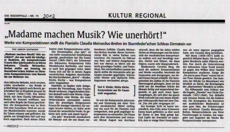 """Rheinpfalz 2012: """"Madame machen Musik? Wie unerhört!"""""""